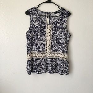 Tops - Blue Floral Keyhole Top